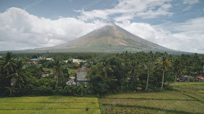Tropic rural city at palm trees aerial. Mayon volcano countryside with cottages, lodges and fields