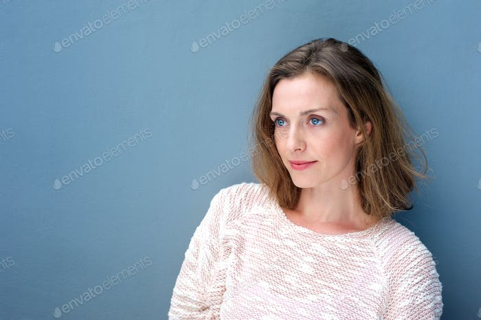 Close up portrait of a charming woman in sweater