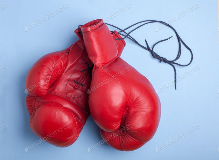 red boxing gloves isolated on blue background