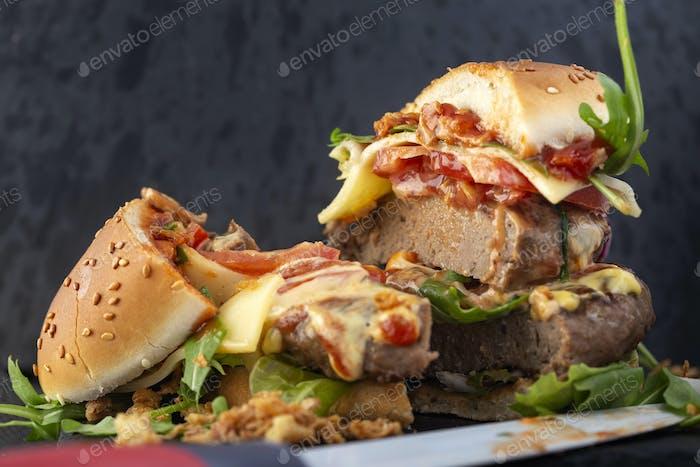 Eating double cheeseburger