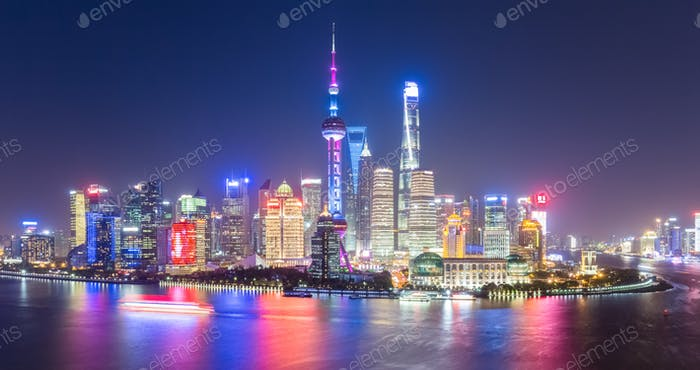 beautiful and charming shanghai skyline at night