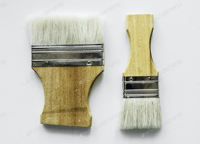 Flat lay of brushes isolated on white background