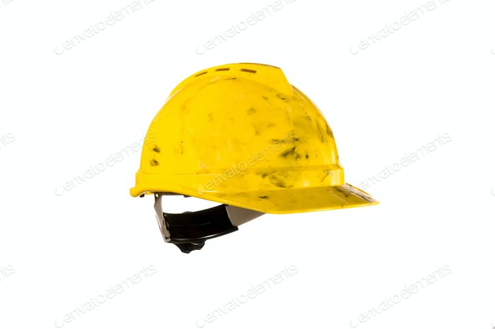 Dirty hardhat isolated on white