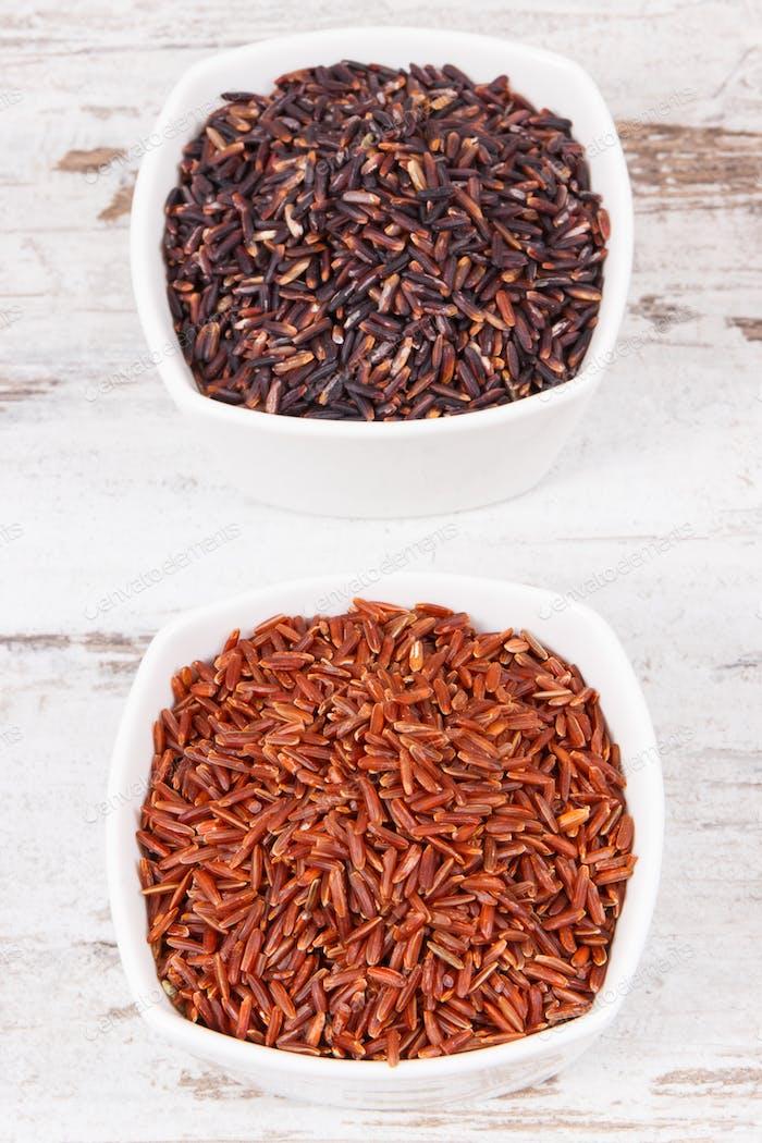 Roter und schwarzer Reis in Glasschalen, gesundes Ernährungskonzept