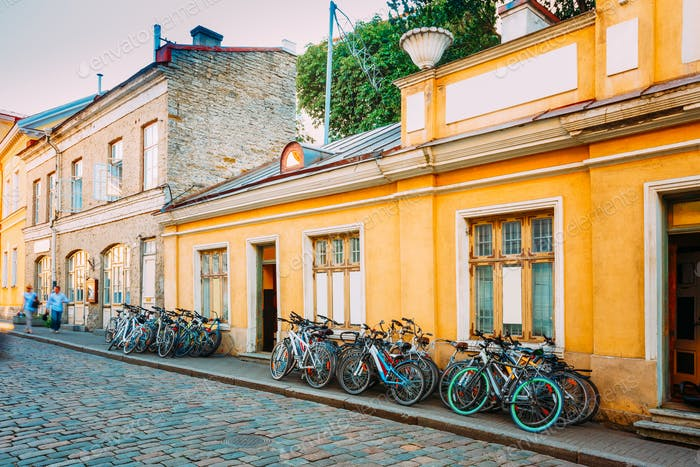 Tallinn, Estonia. Bicycles Rental Bikes Parking Near Old House I