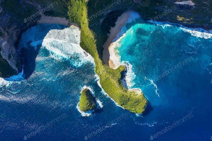 Kelingking beach, Nusa Penida island, Indonesia. Aerial seascape