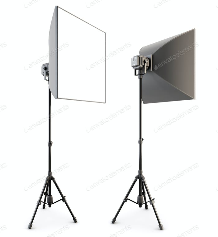 Studio lighting isolated on the white background. Soft box. 3d rendering.