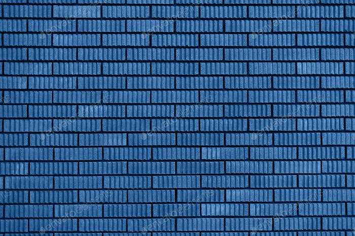 Brick wall texture. Background with copy space for design. Trendy blue and calm color