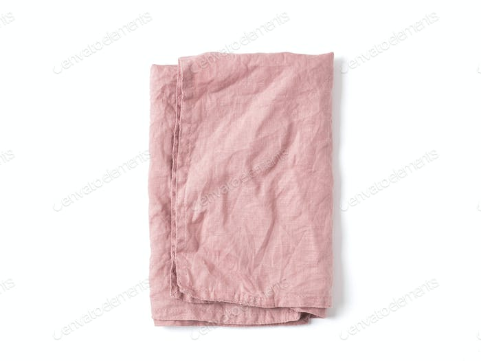 Pink linen napkin isolated on white