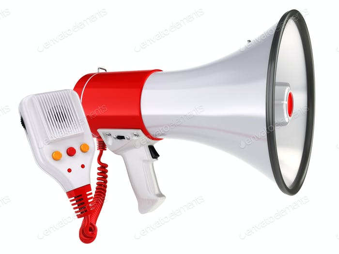 Megaphone or loudspeaker isolated on white.