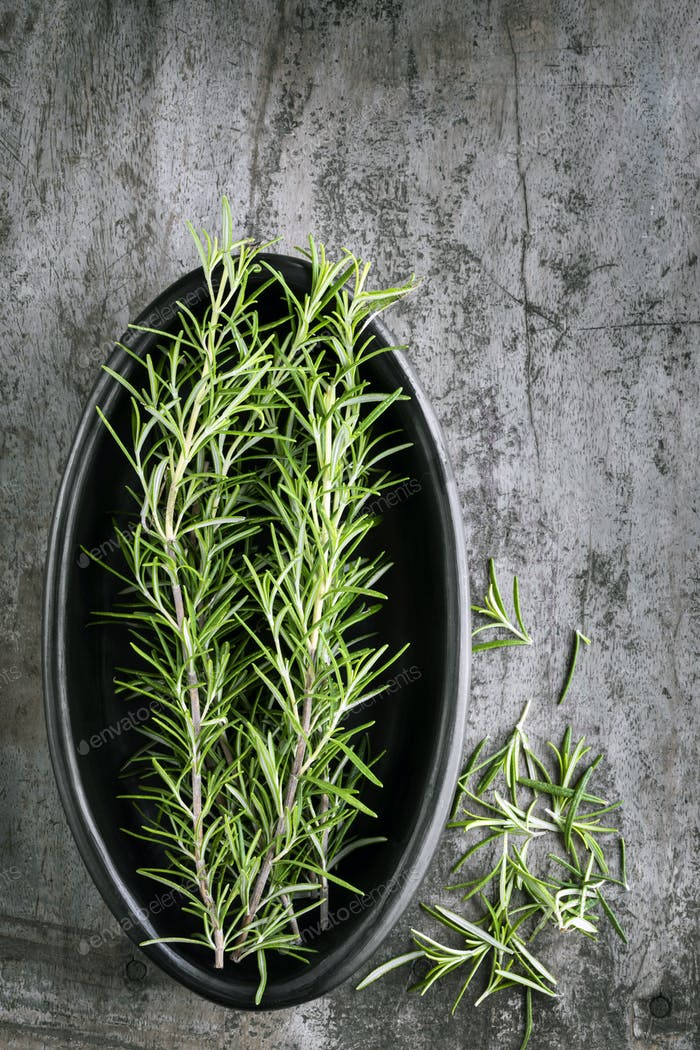 Fresh Rosemary Top View on Grunge Wood Background