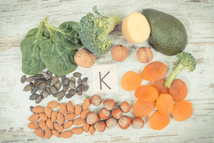 Fruits and vegetables containing vitamin K, minerals and dietary fiber