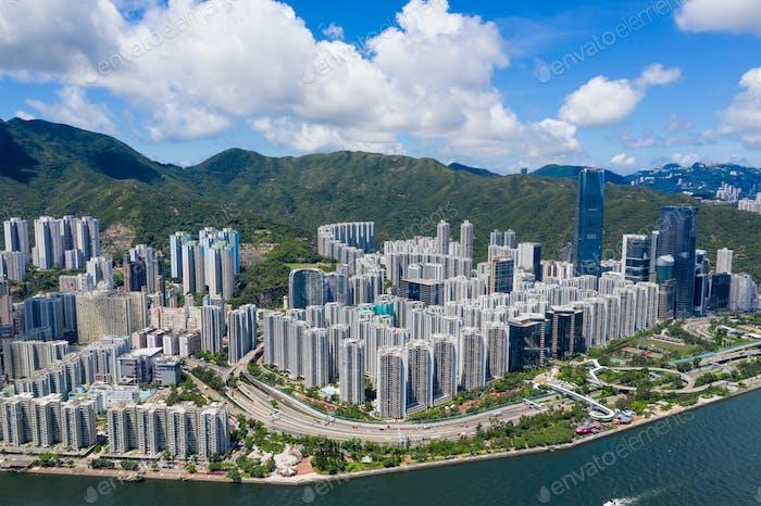 Tai Koo, Hong Kong 20 June 2020: Top view of Hong Kong city