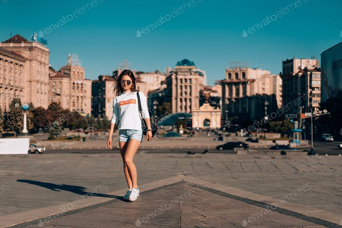 Young girl on the city street