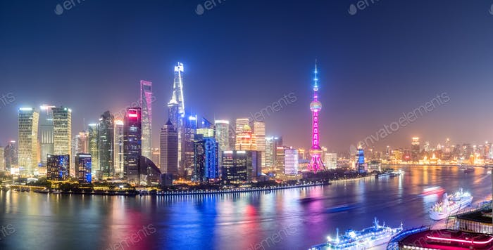 shanghai panorama skyline at night