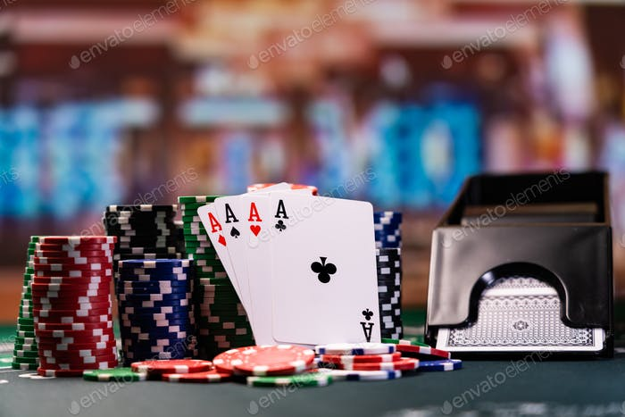 Four aces cards at the casino