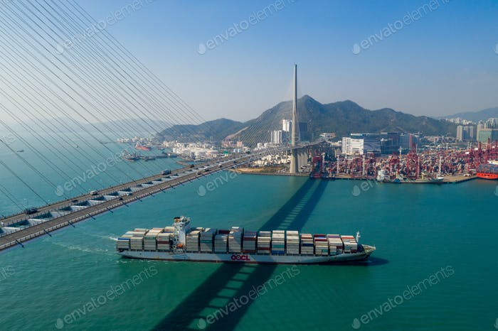 Kwai Tsing, Hong Kong 24 November 2019: Top view of cargo container port