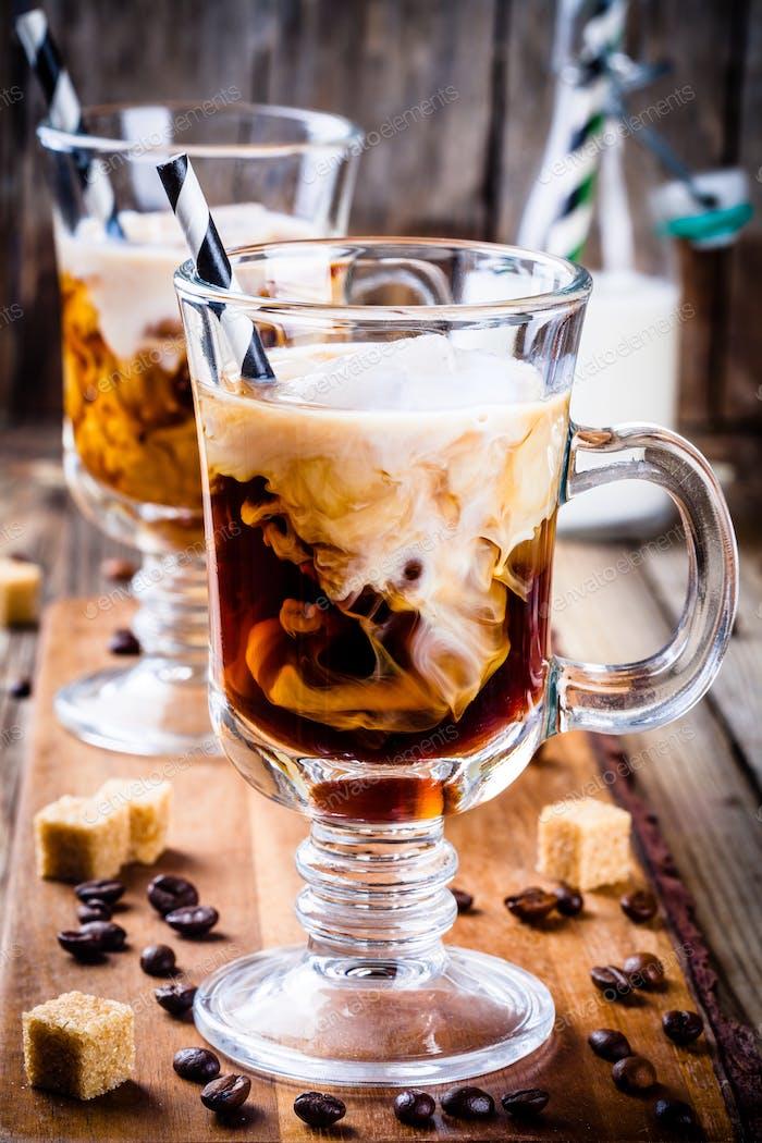 Irish coffee in mugs