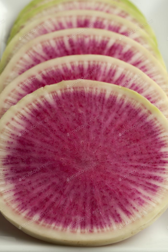 Slices of raw watermelon radish