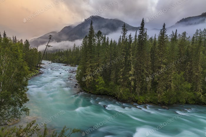 Beautiful landscape with mountain river and fog