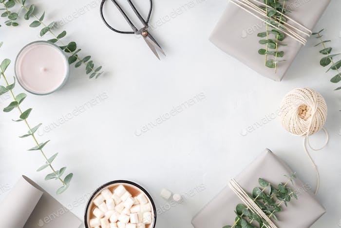 Lifestyle minimaler Rahmen weißer Hintergrund
