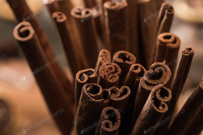 Close up View of Aromatic Fresh Cinnamon Sticks
