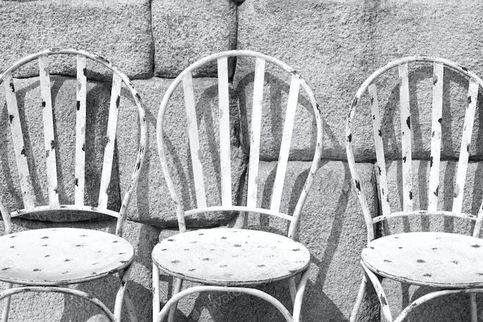 White iron chairs