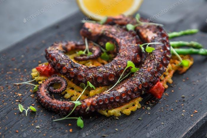 Gegrillte Octopus Vorspeise mit kleinen Kartoffeln, Blick aus der Nähe