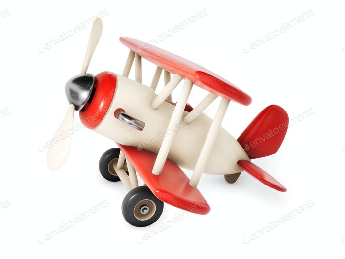 Wooden airplane isolated on white background. 3d rendering illustration.