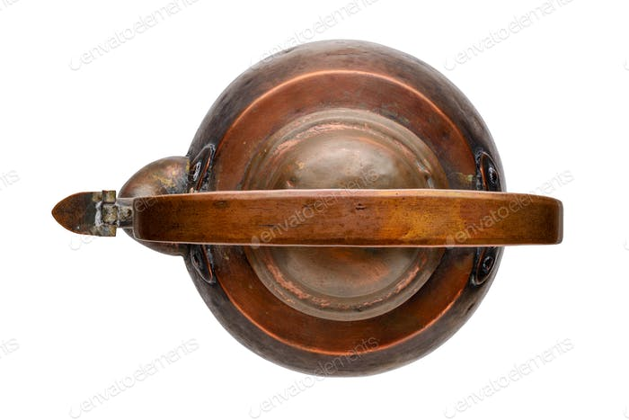 Aged antique copper kettle