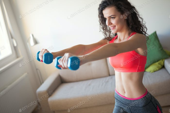 Beautiful woman practicing and working out