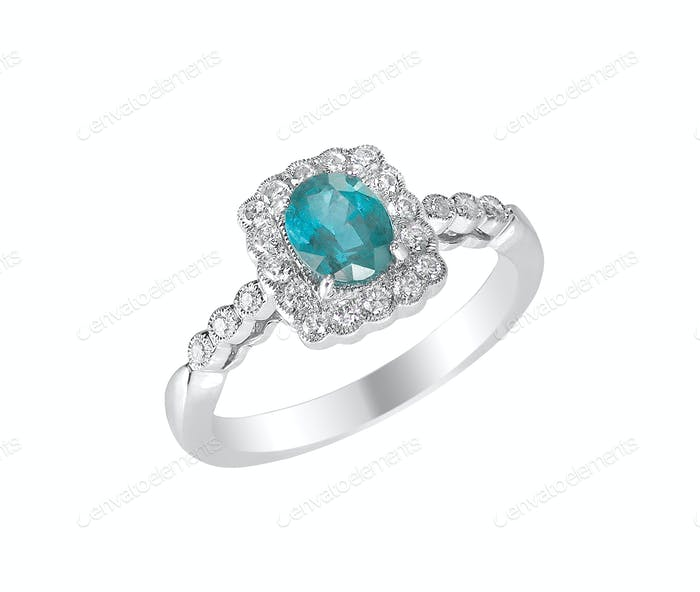 aquamarine center stone engagement ring with diamond halo