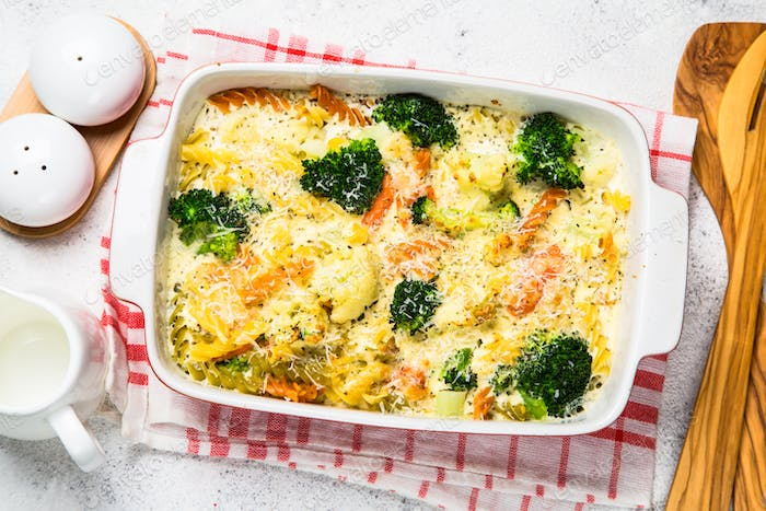 Casserole from pasta and vegetables in baking dish