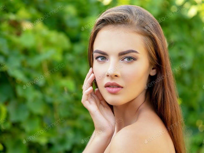 Portrait of beautiful young  woman with clean face.
