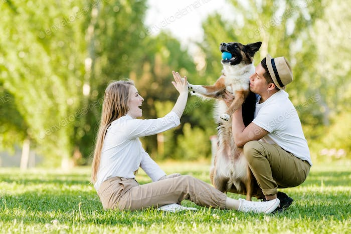 Lovely couple with their dog having fun in the park