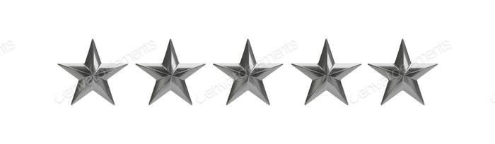 Five silver stars isolated against white, rating concept. 3d illustration
