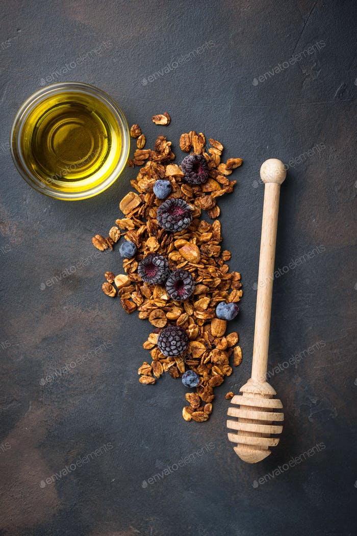 Healthy homemade granola with honey