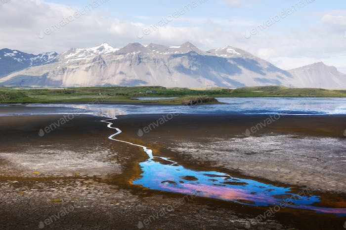 Typical Iceland landscape with river and snowy mountains