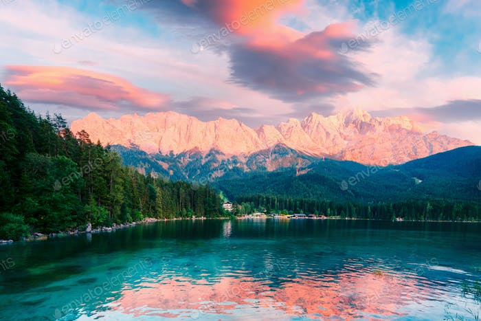 Fantastic sundown on mountain lake Eibsee