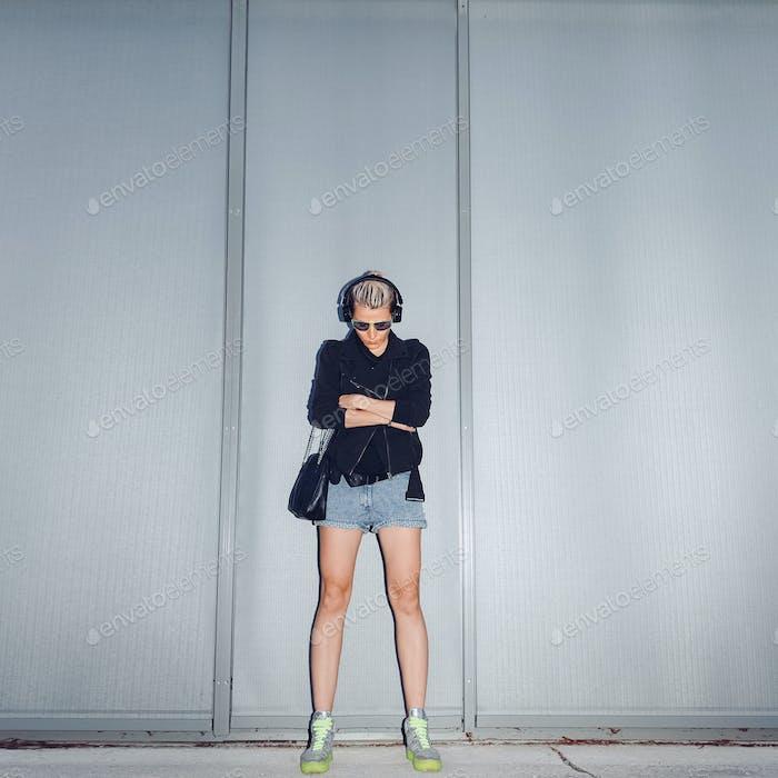 Urban style. Fashion girl music