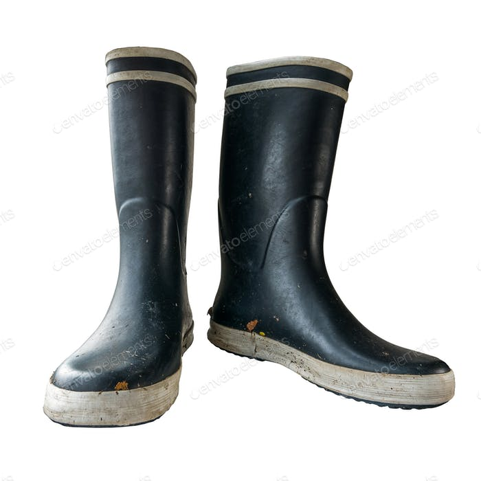 Isolated Black Rubber Boots