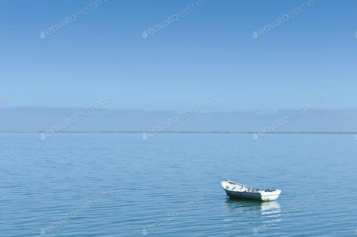 Rowing Boat Moored in Harbor