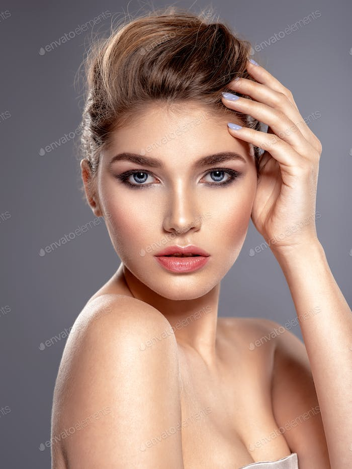 Thumbnail for Beautiful face of young caucasian woman with health skin