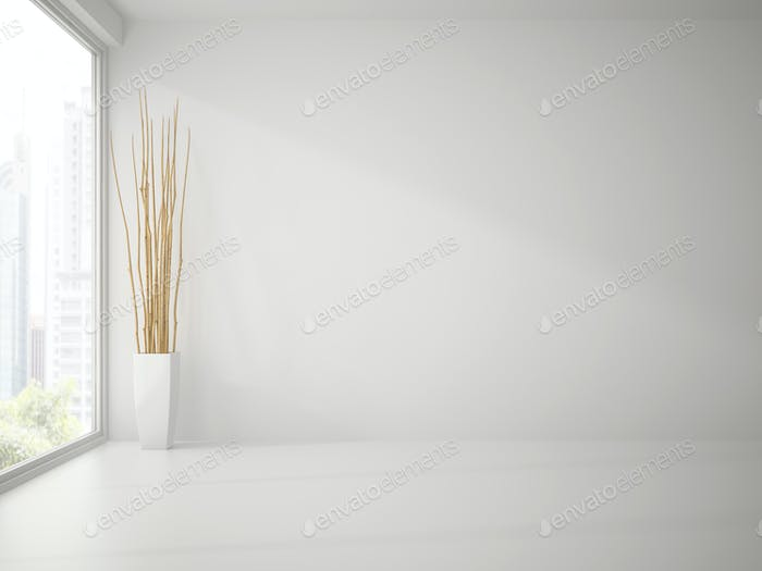 Empty clean white room with branches decor 3D rendering
