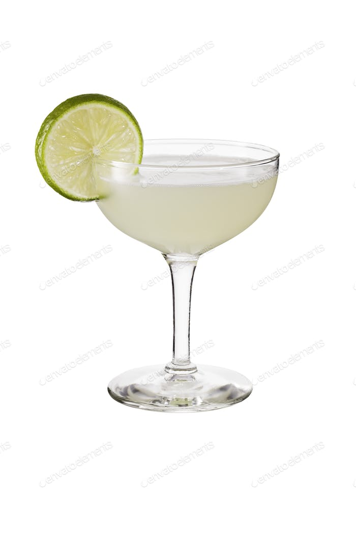 Refreshing Vodka Gimlet Cocktail on White