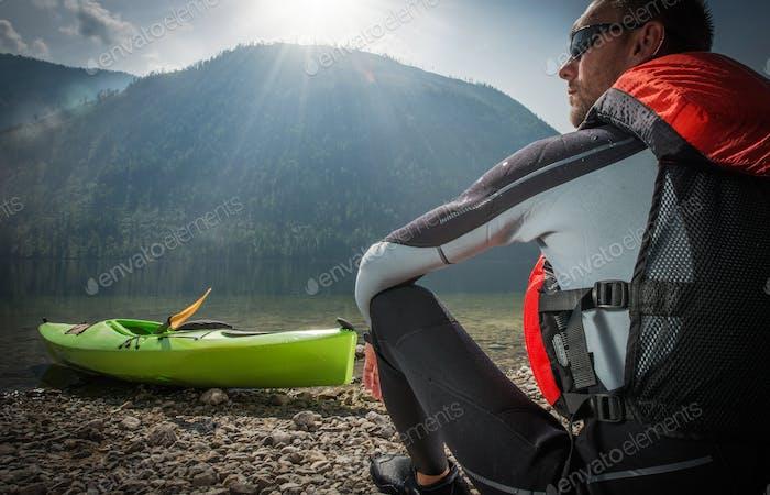 Caucasian Kayaker in the Sun