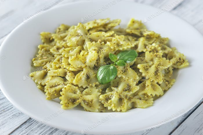 Portion of farfalle with pesto