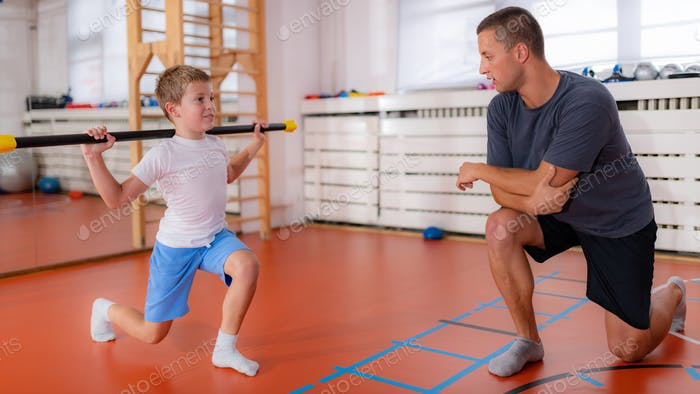 Lounges with a bar, strength training and exercise for children