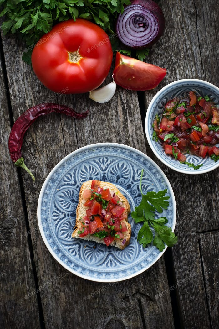 Mexican  tomato salsa sauce  and toasts