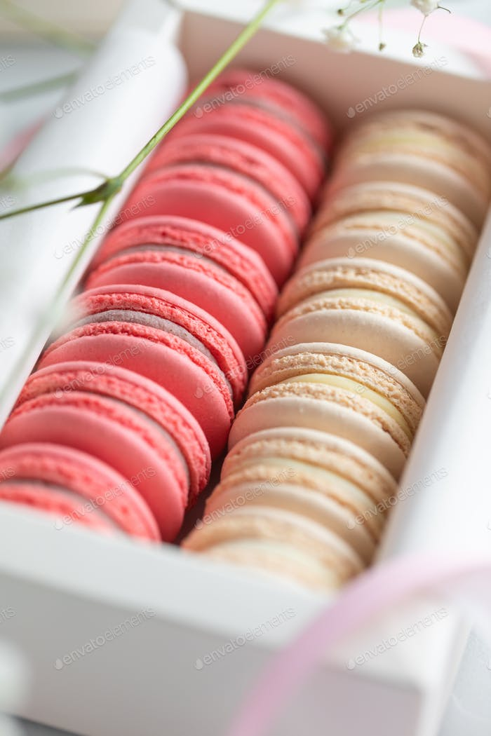 Coral and beige cakes macaroons